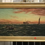 SYDNEY F COOK OIL ON CANVAS ''SHIPPING VESSELS OFF THE COAST'' SIGNED 36CM X 63CM - VERY GOOD ORIGINAL CONDITION, 1 SMALL REPAIR