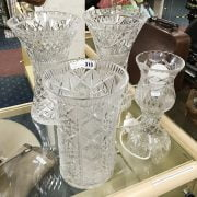 3 LARGE CRYSTAL VASES & 1 TABLE LAMP