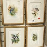 FOUR ORNITHOLOGICAL WATERCOLOURS ON SILK