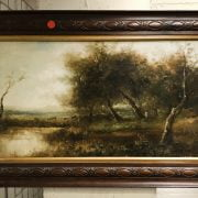 FOLLOWER OF JEAN BAPTISE CAMILLE COROT 1796- 1875 OIL ON CANVAS - LANDSCAPE WITH COWS GRAZING - SIGNED INCISED IN PAINT WITH THOMAS AGNEW & SONS LABEL 33CM X 56CM - VERY GOOD CONDITION, NO SIGNS OF RESTORATION
