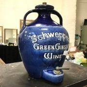 EARLY ''SCHWEPPES'' GREEN GINGER WINE DISPENSER - PROBABLY DOULTON LAMBETH