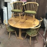 ERCOL DROPLEAF TABLE & SIX CHAIRS