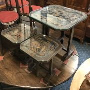 ORIENTAL TILT TOP TABLE & 2 MATCHING SIDE TABLES