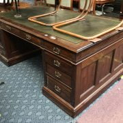 MAHOGANY LEATHER TOP PARTNERS DESK