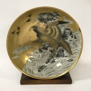 20THC GILT JAPANESE SEA EAGLE BOWL & STAND (CHIPPED)