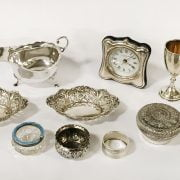 QTY SILVER INCL. CLOCK, DISHES, SAUCE BOAT ETC