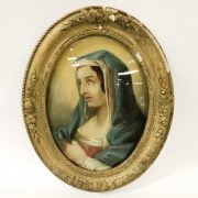 EARLY 19C MADONNA PAINTED ON GLASS - ORIGINAL FRAME