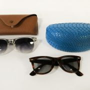 CASED RAYBAN SUNGLASSES WITH ANOTHER PAIR OF THE SAME