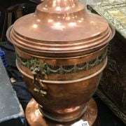 COPPER URN ON STAND