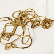 TWO 9CT GOLD CHAIN & VICTORIAN BROOCH WITH DIAMOND & PEARLS