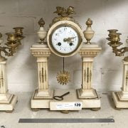 FRENCH CREAM MARBLE CLOCK & GARNITURE
