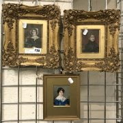 TWO GILT FRAMED PORTRAIT MINIATURES & ANOTHER