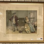 J.C PLAYFAIR SIGNED WATERCOLOUR - THE DISCOVERED LETTER - NO FOXING, PERFECT CONDITION 34CM X 28CM FRAMED UNDER GLASS