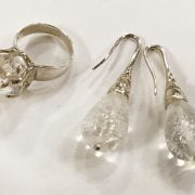 STERLING SILVER ROCK CRYSTAL EARRING & RING SET
