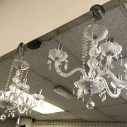 PAIR OF CRYSTAL & GLASS CHANDELIERS