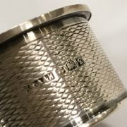 HM SILVER FRETWORK BOWL WITH 5 HM SILVER NAPKIN RINGS