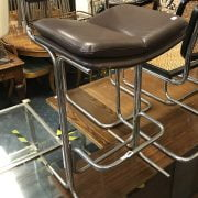 CHROME & LEATHER BAR STOOL BY PIEFF