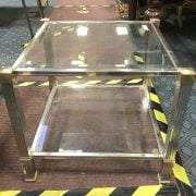 METAL & GLASS SIDE TABLE IN GOOD CONDITION - LENGTH 58CM X WIDTH 58CM