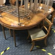 YEW TABLE & 6 CHAIRS