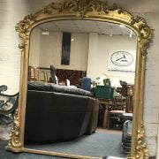 VICTORIAN GILTWOOD CARVED OVERMANTLE MIRROR -168CM HIGH 148CM WIDE