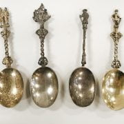 FOUR EARLY HM SILVER FIGURAL SPOONS