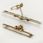 TWO BAR BROOCHES (ONE IS DIAMOND)