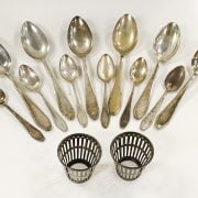 COLLECTION OF SILVER SPOONS & 2 BASKETS