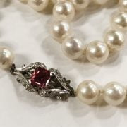 PEARL NECKLACE - 18CT GOLD & DIAMOND CLASP