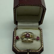 Sterling silver ring hallmarked 925 with Raw Ruby gemstone in the centre approx. 1ct  with matching Raw Ruby studs