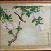 FIVE ORIENTAL PAINTINGS ON SILK - AVERAGE FRAME SIZE IS 43CM X 36CM APPROX
