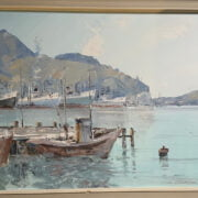 ASTON GREATHEAD SIGNED OIL ON BOARD OF LYTTLETON HARBOUR - GREAT CONDITION - 53CM X 38CM INNER MEASUREMENTS