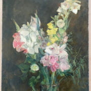 ATTRIBUTED TO ETHEL SANDS 1873-1952 OIL ON CANVAS - STILL LIFE FOX GLOVES & SUMMER FLOWERS - SIGNED & INSCRIBED ON REVERSE 51CM X 70CM - VERY GOOD ORIGINAL CONDITION