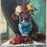 FRANCO MATANIA 1922-2006 OIL ON CANVAS - STILL LIFE OF ROSES - SIGNED LOWER RIGHT 50CM X 70CM - VERY GOOD ORIGINAL CONDITION