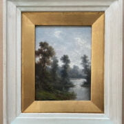 ARTHUR GILBERT 1819-1985 OIL ON CANVAS OF RIVER LANDSCAPE - SIGNED WITH INITIALS 18CM X 23CM - GOOD ORIGINAL CONDITION