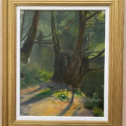ARTHUR JOHN ELSEY 1861-1952 OIL ON CANVAS - TREES IN SUNLIGHT - REMAINS OF SIGNATURE, STUDIO SALE SOTHERBYS 41CM X 51CM - VERY GOOD CONDITION , FRAMED