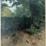 ARTHUR JOHN ELSEY 1861-1952 OIL ON CANVAS LAID TO BOARD - STUDY OF TREE ON RIVER BANK - STUDIO SALE SOTHERBYS 41CM X 51CM - VERY