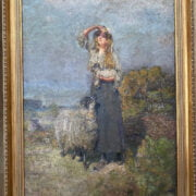 ATTRIBUTED TO EDWARD ATKINSON HORNEL 1864-1933 OIL ON CANVAS - SHEPHERDESS WITH SHEEP & LAMB 54CM X 74CM - HEAVY IMPASTO HAS MADE CANVAS LUMPY