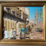 ATTRIBUTED TO VICTOR PIERRE HUGUET 1835-1902 OIL ON CANVAS - A VERY FINE ORIENTALIST SCENE WITH FIGURES & DONKEYS - SIGNED ON STRETCHER - 22CM X 27CM
