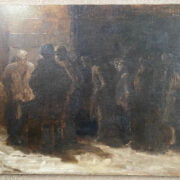 KALMAN KEMENY 1896-1994 OIL ON CANVAS  - MEN WAITING OUTSIDE A DOOR IN SNOW - SIGNED TWICE ON REVERSE 56CM X 77CM - VERY GOOD CONDITION, NO SIGNS OF RESTORATION OR FAULTS