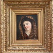 GUERRINO GUARDABASSI 1841-1893 OIL ON PANEL - PORTRAIT OF GIRL - SIGNED & INSCRIBED ON REVERSE -18CM X 22CM - VERY GOOD CONDITION FOR AGE , BRIGHT COLOURS, NO SIGNS RESTORATION