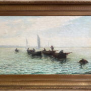 ALFRED HARVEY MOORE 1843- 1905 OIL ON CANVAS- ST IVES FISHERMAN RETURNING HOME - SIGNED - 61CM X 102CM - GOOD ORIGINAL CONDITION, CANVAS A LITTLE BUMPY