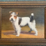 EARLY 20C OIL ON BOARD - PORTRAIT OF PUNCH A TERRIER - MONOGRAMMED EP -19CM  X 26CM - VERY GOOD CONDITION