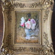 ATTRIBUTED TO SIR JOHN LAVERY R.A, R.S.A, RHA, HROI, LLB 1856-1941 OIL ON PANEL , ROSES IN A VASE, SIGNED LOWER LEFT, INSCRIBED & SIGNED ON REVERSE 19CM  X 24CM - EXCELLENT CONDITION