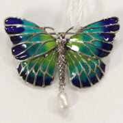 STERLING SILVER BUTTERFLY BROOCH WITH PEARL DROP