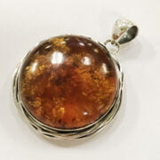 STERLING SILVER LARGE ROUND BALTIC AMBER PENDANT