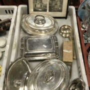 THREE SILVER PLATE HOT DISHES WITH OTHER ITEMS