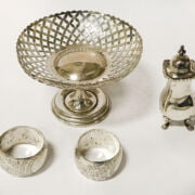 HM SILVER DISH WITH TWO HM NAPKIN RINGS