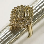 14CT YELLOW GOLD DIAMOND CLUSTER RING - SIZE M-N - BOXED