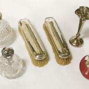 TWO HM SILVER PERFUME BOTTLES & OTHER ITEMS