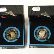 TWO LONDON 2012 OLYMPIC SILVER PROOF COINS - BOXED WITH CERTIFICATES